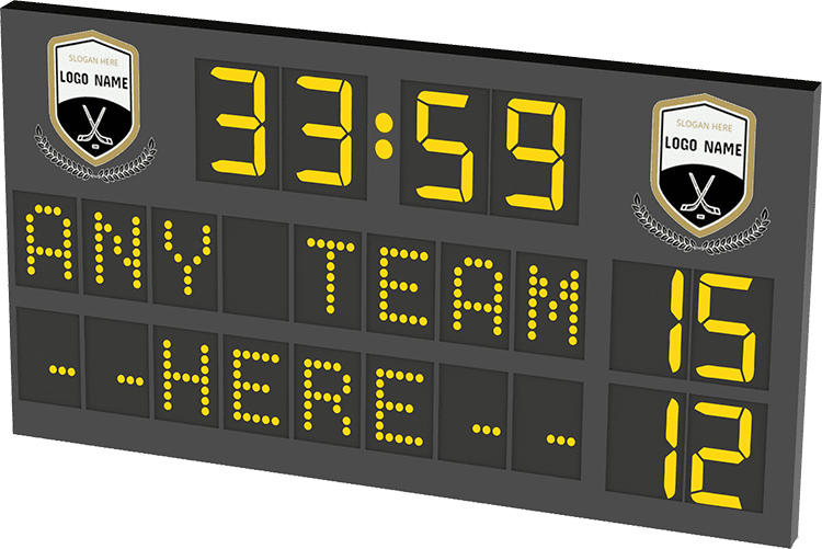 M03: Club Branded Scoreboard with Digital Team Names and Clock (Hockey) Featured Image